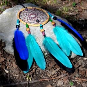 Фото Ловец снов с бусинками агата и лавы