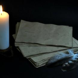 Фото Состаренная бумага 10 листов, конверт с сургучной печатью