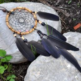 """Фото Ловец снов чёрный с перьями ворона """"Звуки Самайна"""""""