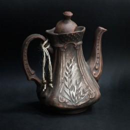 """Фото Чайник на 1 литр """"Сонет"""", красная глина, молочение"""