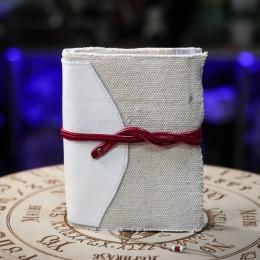Фото Блокнот текстильный с красной застёжкой