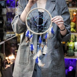 Фото Ловец снов Джут-голубой с бусинами