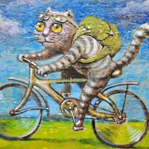 Фото Картина Кот велосипедист