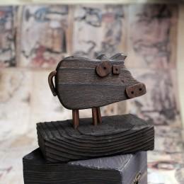 Фото Фигурка Свинка деревянная сувенир