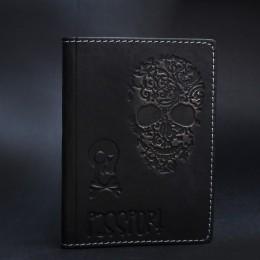 Фото обложка на паспорт чёрная череп из натуральной кожи