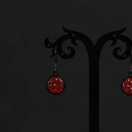 Фото Серьги черные с ярко-красными вставками