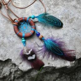 Фото Кулон Ловец снов бирюзово-фиолетовый