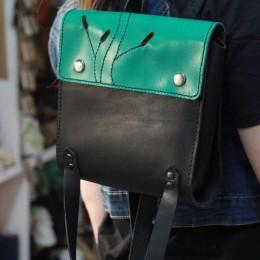 Фото Кожаный рюкзак зелёно-чёрный