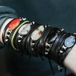 Фото Кожаный браслет с натуральным камнем (агат, сердолик)